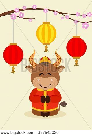 Scalable Vectorial Representing A Greeting Card Little Ox Chinese New Year, Element For Your Design.