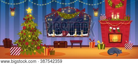 Christmas Holiday Room Interior With Brick Fireplace, Decorated X-mas Tree, Presents, Stockings, Win