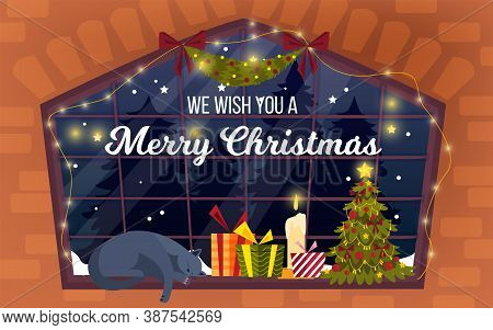 Christmas Home Window Illustration With X-mas Tree, Presents, Garland, Candle, Sleeping Cat. Winter