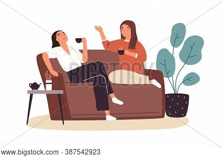 Smiling Woman Friends Drinking Tea At Home Vector Flat Illustration. Happy Female Laughing And Gossi