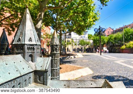 Mainz, Germany - July 2020: Close Up Of Tower Of Miniature Touch Examination Model Replica For Blind