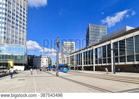 Frankfurt Am Main, Germany - June 2020: Central Streetcar Station At Square Called 'willy Brandt Pla