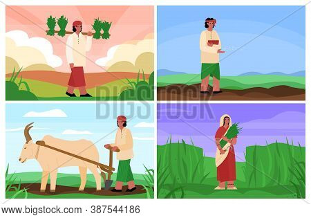 Set Of Scenes Of Agricultural Works Of Indian Peasants Or Country People, Flat Cartoon Vector Illust