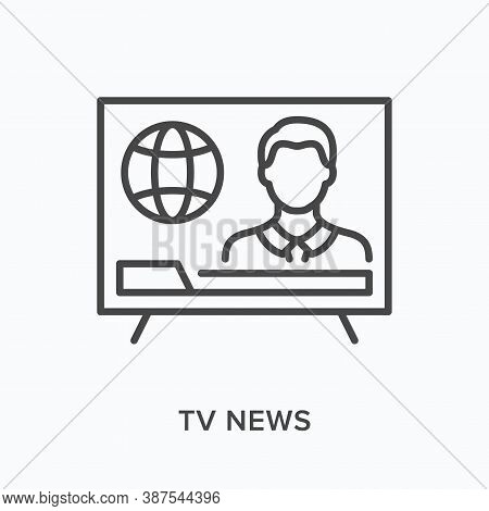 Tv News Flat Line Icon. Vector Outline Illustration Of Broadcast. Anchorman On Television Thin Linea