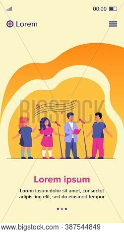 Children Choir Singing Song In Church Flat Vector Illustration. Group Of Kids Singing To Microphone.