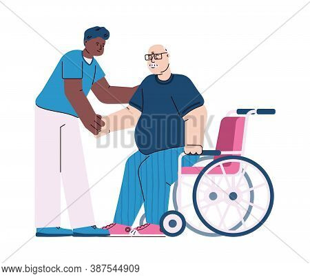 Therapist Or Nurse In Rehab Clinic Helping A Disabled Patient, Cartoon Vector Illustration Isolated