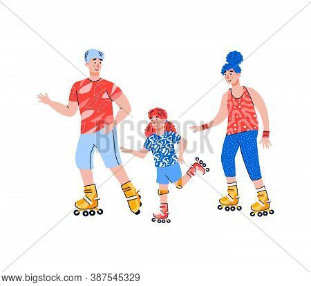 Active Family With Child Riding Roller Skates, Flat Vector Illustration Isolated On White Background