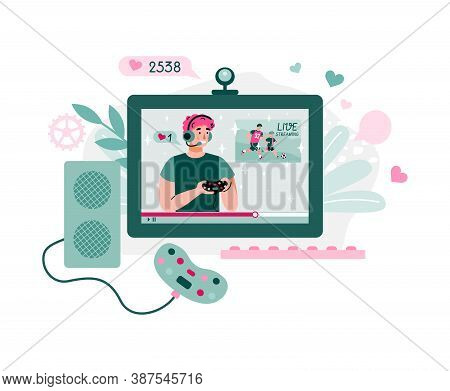 E-sport Gamer Leading Live Streaming Broadcast Online, Flat Cartoon Vector Illustration Isolated On
