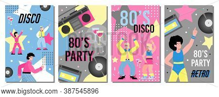 Colorful Banners Or Placards Set For Retro 80s Disco Party, Cartoon Vector Illustration. Invitation