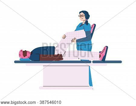 Therapist Helping Patient To Overcome Physical Rehabilitation Procedure, Cartoon Vector Illustration