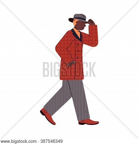 Walking Man Dressed In Warm Rainproof Clothes For Autumn Weather, Cartoon Flat Vector Illustration I