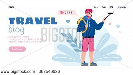 Website Interface For Travel Blog With Cartoon Character Of Blogger Shooting His Journey Review, Fla