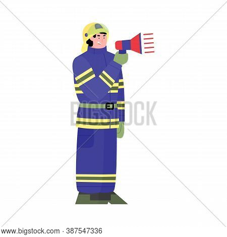 Cartoon Character Of A Firefighter With A Megaphone In His Hands. A Uniformed Firefighter Warns Of A