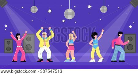 People Having Fun At 80s Retro Style Party. People Wearing 1980s Costumes With Shirts And Wide Pants