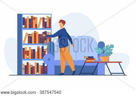 Man Choosing Book In Home Library. Leisure, Shelf, Sofa Flat Vector Illustration. Hobby And Entertai