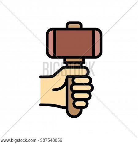 Blacksmith Sledgehammer Icon. Outline Blacksmith Sledgehammer Vector Icon For Web Design Isolated On