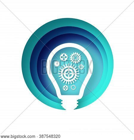Light Bulb And Cogs Inside In Paper Cut Style. Origami Electric Bulb With Gears And Cogs Working Tog