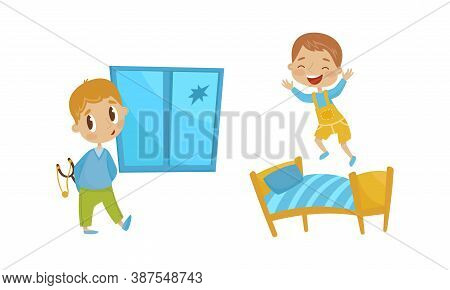 Naughty Boy Breaking Window With Forked Stick And Jumping On Bed Vector Illustration Set