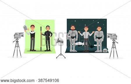 Male Director Filming Movie With Actor Wearing Costume Vector Illustration Set