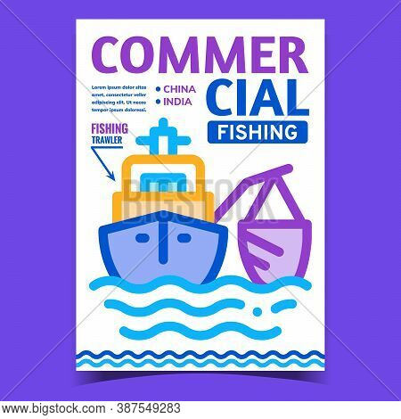 Commercial Fishing Creative Promo Banner Vector. Fishing Trawler Boat Fishing In Ocean Promotional P