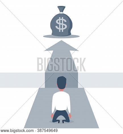 Sad Businessman Kneeling And Looking Down Over Big Gap On Way With Big Money Bag At The Top Of It .
