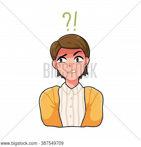 Portrait Of Confused Anime Boy With Question Mark And Exclamation Point Vector Illustration. Japanes