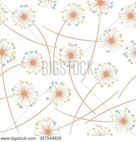 Dandelion Blowing Plant Vector Floral Seamless Pattern. Simple Flowers With Heart Shaped Fluff Flyin