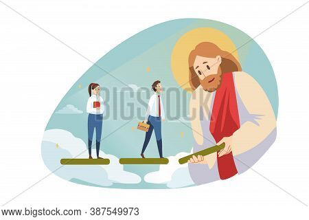 Startup, Success, Religion, Christianity, Help, Business Concept. Jesus Christ Son Of God Messiah He