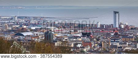 Editorial Swansea, Uk - April 05, 2020: A View Of Swansea City Centre Looking East Towards Port Talb