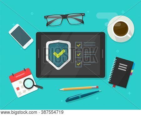 Security Verification Check List Vector Digital Test, Identity Fraud Spy Checklist Scan On Tablet Co