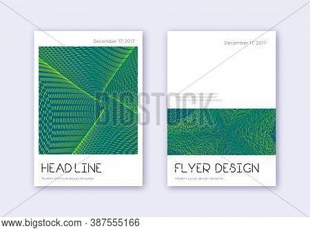 Minimal Cover Design Template Set. Green Abstract Lines On Dark Background. Delightful Cover Design.