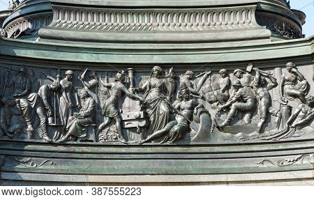Dresden, Germany - July 26, 2019: Bas-relief On Pedestal Of Monument To King Johann (john Of Saxony)