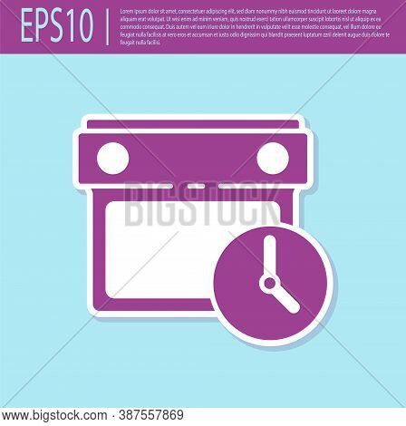 Retro Purple Calendar And Clock Icon Isolated On Turquoise Background. Schedule, Appointment, Organi