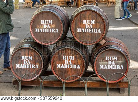 Funchal, Madeira, Portugal - April 19, 2018: A Bar At The Festival Do Rum In The City Centre Of Func