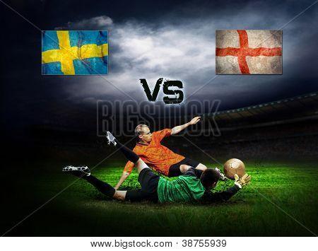 Friendly soccer match between Sweeden and England