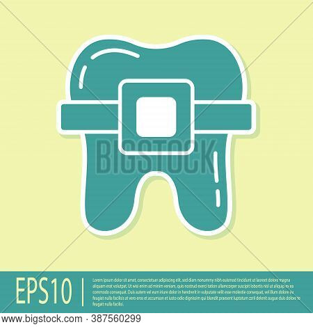Green Teeth With Braces Icon Isolated On Yellow Background. Alignment Of Bite Of Teeth, Dental Row W