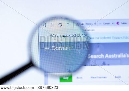 New York, Usa - 29 September 2020: Domain Domain.com.au Company Website With Logo Close Up, Illustra