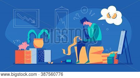 Hopeless Unemployed Loser Businessman In His Room With Empty Safe And Piggy Bank Flat Vector Illustr