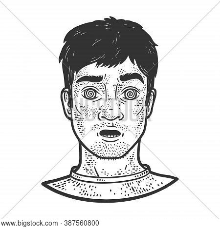 Hypnotized Man Sketch Engraving Vector Illustration. T-shirt Apparel Print Design. Scratch Board Imi