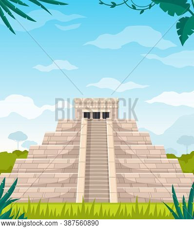 Maya Civilization Culture Architecture Cartoon Image Of Ancient Staircase Monument Pyramid Temple Ve