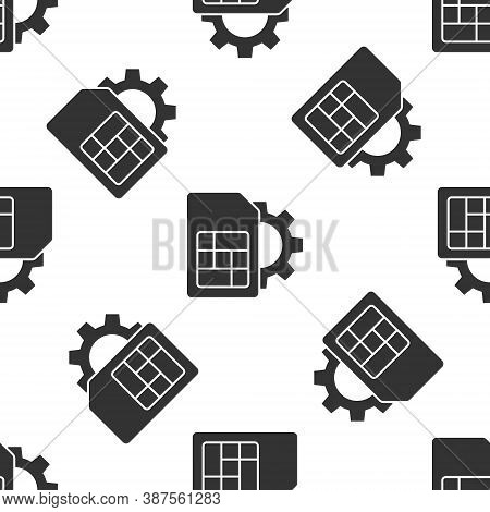 Grey Sim Card Setting Icon Isolated Seamless Pattern On White Background. Mobile Cellular Phone Sim