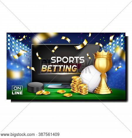 Sports Betting Gamble Promotional Banner Vector. Hockey Puck And Volleyball Ball, Championship Cup A