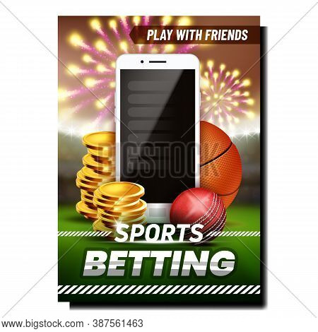 Sport Betting Online App Promotional Banner Vector. Cricket And Basketball Balls, Coin Heap And Mobi