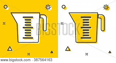Black Measuring Cup To Measure Dry And Liquid Food Icon Isolated On Yellow And White Background. Pla