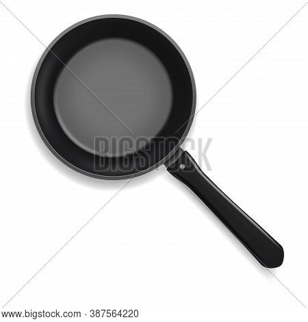 Realistic 3d Detailed Frying Pan With Handle For Cooking And Fry. Vector Illustration Of Circle Meta