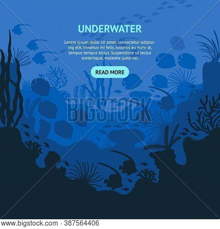 Cartoon Underwater Blue Sea Or Ocean Concept Card Flat Design. Vector Illustration Of Deep Undersea