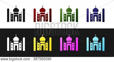 Set Taj Mahal Mausoleum In Agra, Indiaicon Isolated On Black And White Background. Vector