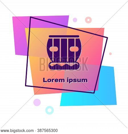 Purple Indian Musical Instrument Tabla Icon Isolated On White Background. Color Rectangle Button. Ve