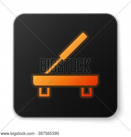 Orange Glowing Neon Scented Spa Stick On A Wooden Stand Icon Isolated On White Background. Incense S