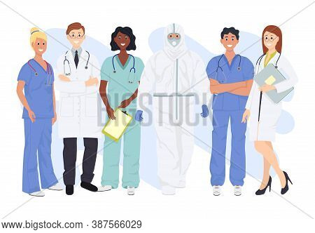Banner With A Multicultural Group Of Medics. Medical Team Doctor Nurse Therapist Surgeon Professiona
